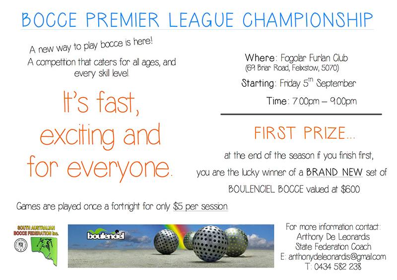 Bocce Premier League Championship – 2015