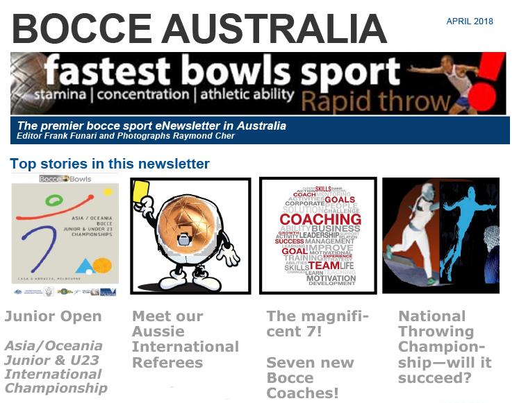Bocce Australia – eNews April 2017