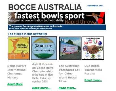 Bocce Australia – eNews September 2018