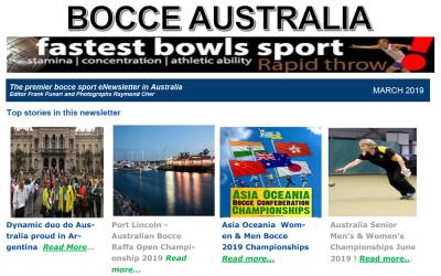 Bocce Australia – eNews March 2019