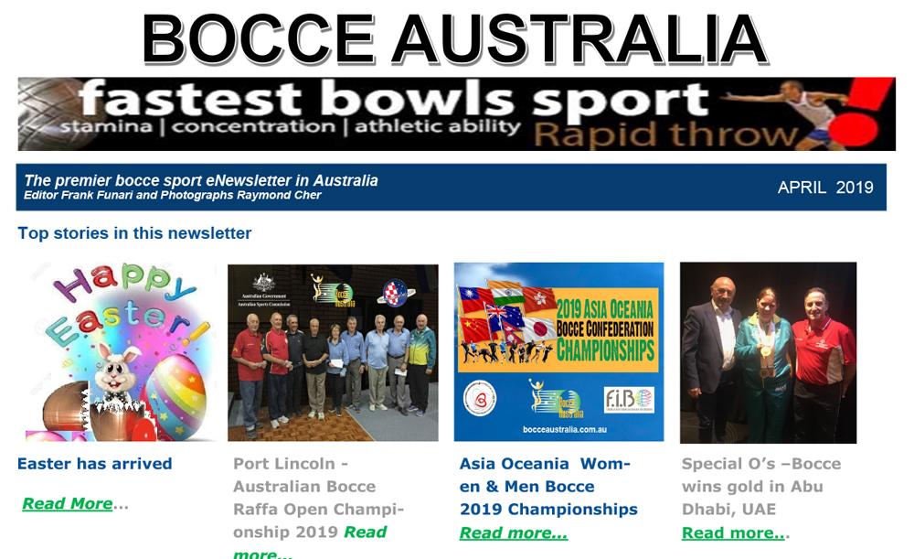 Bocce Australia – eNews April 2019