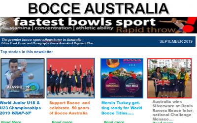 Bocce Australia – eNews September 2019