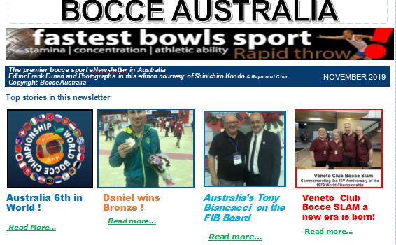 Bocce Australia – eNews November 2019
